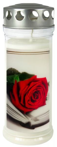 """Grabkerze - Gedenkkerze Motiv """"Rose/Buch"""""""