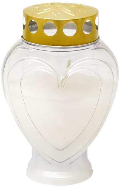 Grablampe Herz klein weiss