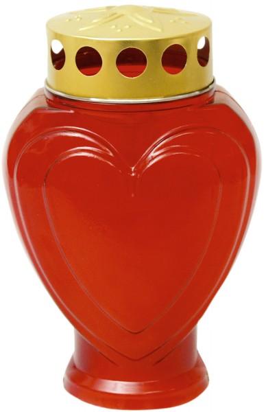 Grablampe Herz klein rot