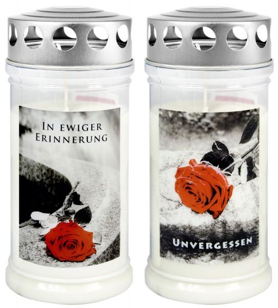 """Grabkerze - Gedenkkerze Motiv """"Unvergessen"""" + Ewige Erinnerung"""