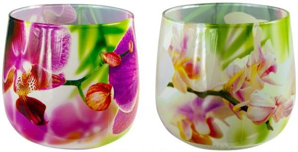 Duftglas Orchidee white und Orchidee pink 2er Set