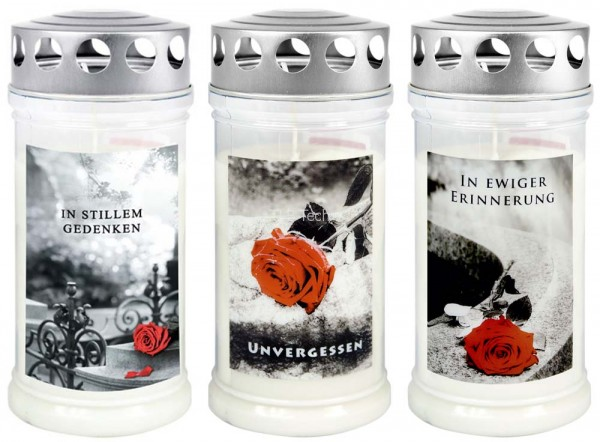 3 Grabkerzen - Grablicht - Motivkerze - Gedenkkerze - Dauerbrenner 70-90 Std.